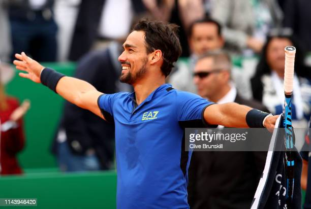 Fabio Fognini of Italy celebrates his straight set victory against Rafael Nadal of Spain in their semifinal match during day seven of the Rolex...