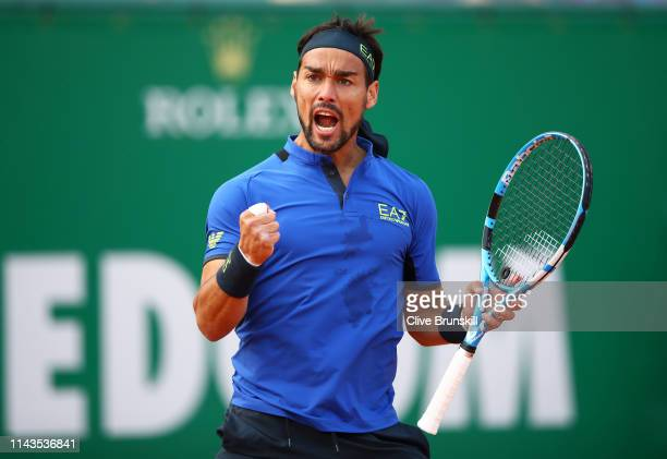 Fabio Fognini of Italy celebrates match point against Alexander Zverev of Germany in their third round match during day five of the Rolex Monte-Carlo...