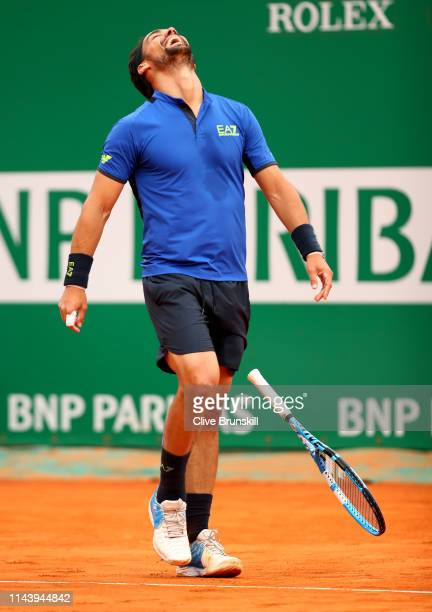 Fabio Fognini of Italy celebrates match point against Rafael Nadal of Spain in their semifinal match during day seven of the Rolex MonteCarlo Masters...