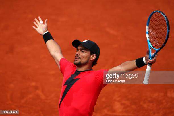 Fabio Fognini of Italy celebrates victory during the mens singles third round match against Kyle Edmund of Great Britain during day seven of the 2018...