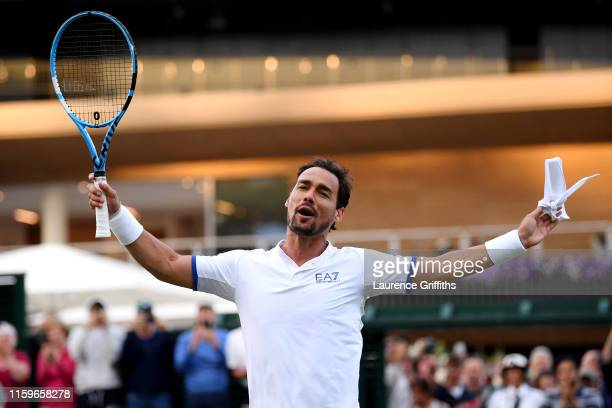 Fabio Fognini of Italy celebrates victory in his Men's Singles first round match against Frances Tiafoe of The United States during Day two of The...