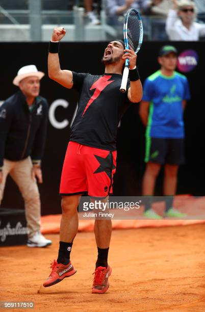 Fabio Fognini of Italy celebrates winning a point in his match against Dominic Thiem of Austria during day four of the Internazionali BNL d'Italia...