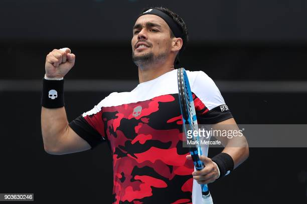 Fabio Fognini of Italy celebrates winning a point in his quarter final match against Adrian Mannarino of France during day five of the 2018 Sydney...