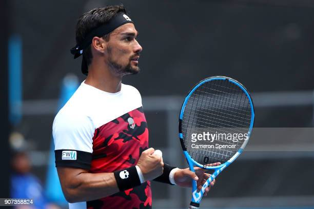 Fabio Fognini of Italy celebrates winning a point in his third round match against Julien Benneteau of France on day six of the 2018 Australian Open...
