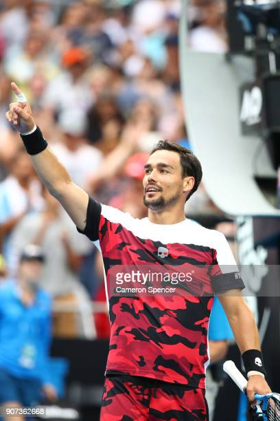 Fabio Fognini of Italy celebrates winning his third round match against Julien Benneteau of France on day six of the 2018 Australian Open at...