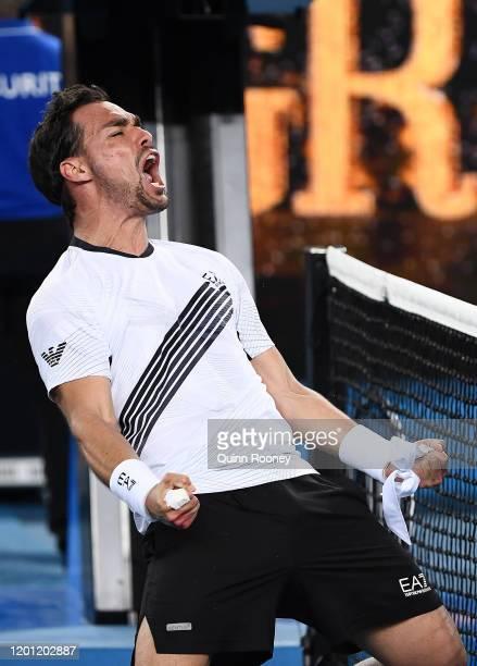 Fabio Fognini of Italy celebrates winning match point during his Men's Singles second round match against Jordan Thompson of Australia on day three...