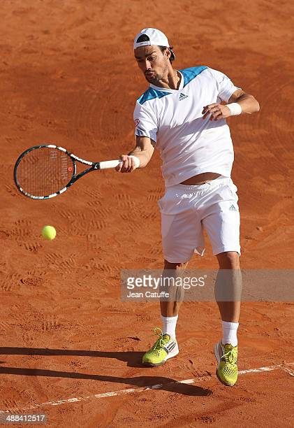 Fabio Fognini of Italy competes in doubles during the ATP Tour Open Banc Sabadell Barcelona 2014 62nd Trofeo Conde de Godo at Real Club de Tenis...