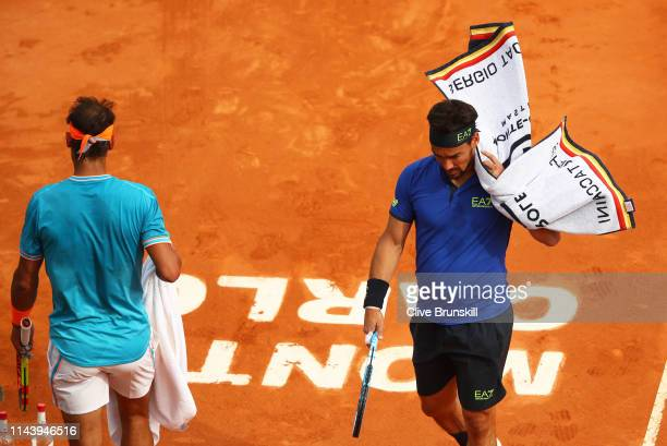Fabio Fognini of Italy during a change of ends in his straight set victory against Rafael Nadal of Spain in their semifinal match during day seven of...