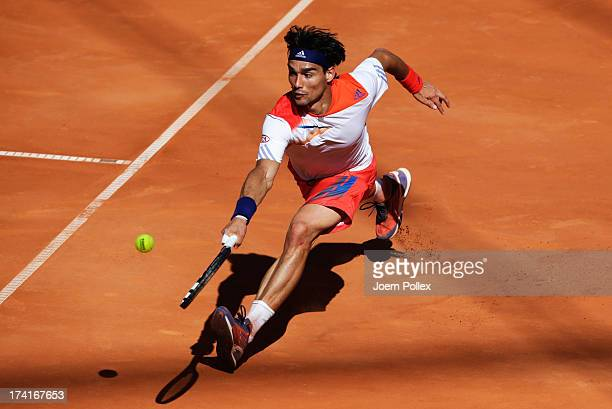 Fabio Fognini of Italy hits a forehand during his Final match against Federico Delbonis of Argentina during the International German Open at...