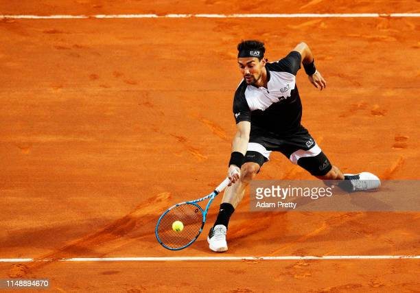 Fabio Fognini of Italy hits a forehand during his first round match against Jo-Wilfried Tsonga of France during day two of the International BNL...