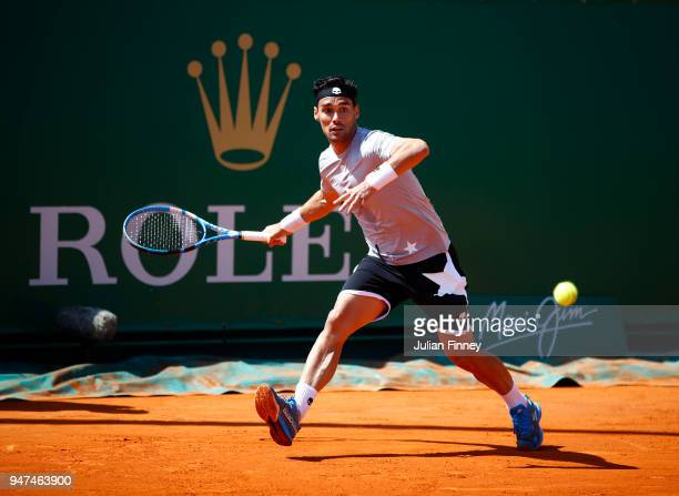Fabio Fognini of Italy hits a forehand return during his Mens Singles match against Ilya Ivashka of Belarus at MonteCarlo Sporting Club on April 17...