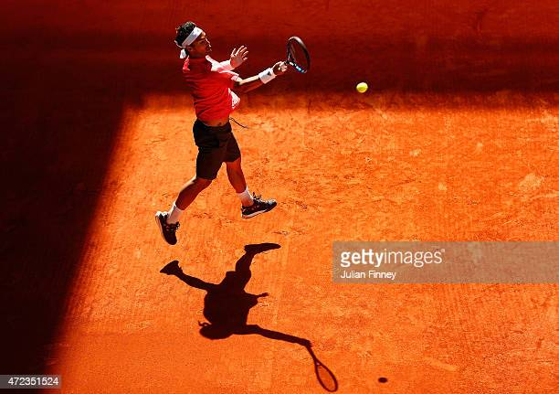 Fabio Fognini of Italy in action against Grigor Dimitrov of Bulgaria during day five of the Mutua Madrid Open tennis tournament at the Caja Magica on...