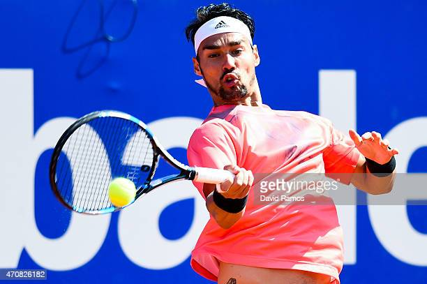 Fabio Fognini of Italy in action against Rafael Nadal of Spain during day four of the Barcelona Open Bac Sabadell at the Real Club de Tenis Barcelona...