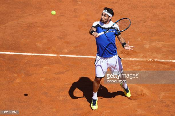 Fabio Fognini of Italy in action during his forst round match against Matteo Berrettini of Italy on Day Two of The Internazionali BNL d'Italia 2017...