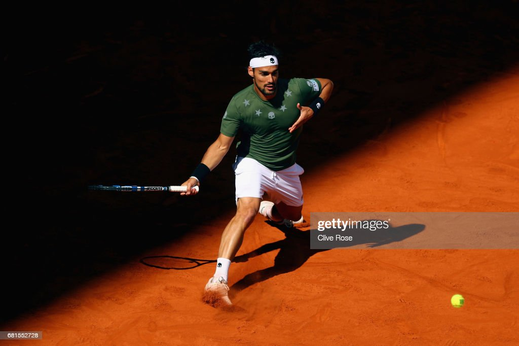 Fabio Fognini of Italy in action during his match against Rafael Nadal of Spain on day five of the Mutua Madrid Open tennis at La Caja Magica on May 10, 2017 in Madrid, Spain.