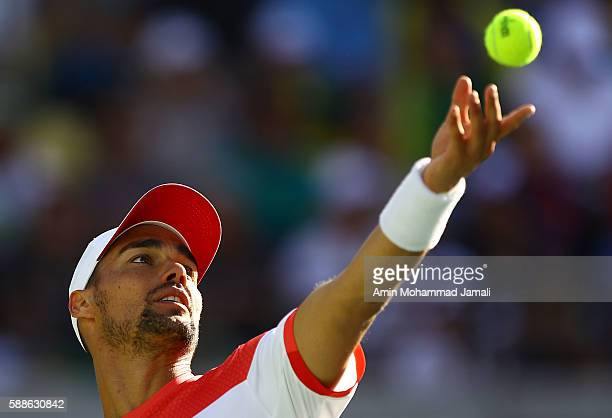 Fabio Fognini of Italy in action during the men's singles third round match against Andy Murray of Great Britain on Day 6 of the 2016 Rio Olympics at...