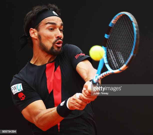 Fabio Fognini of Italy in action return during his Quarter Final match against Rafael Nadal of Spain during day six of The Internazionali BNL...