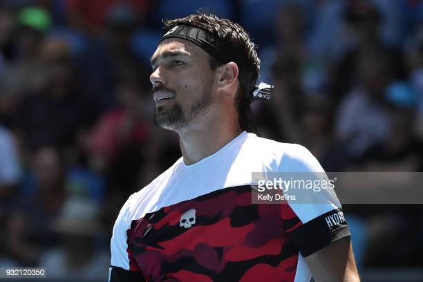 Fabio Fognini of Italy is seen during his fourth round match against Tomas Berdych of the Czech Republic on day eight of the 2018 Australian Open at...