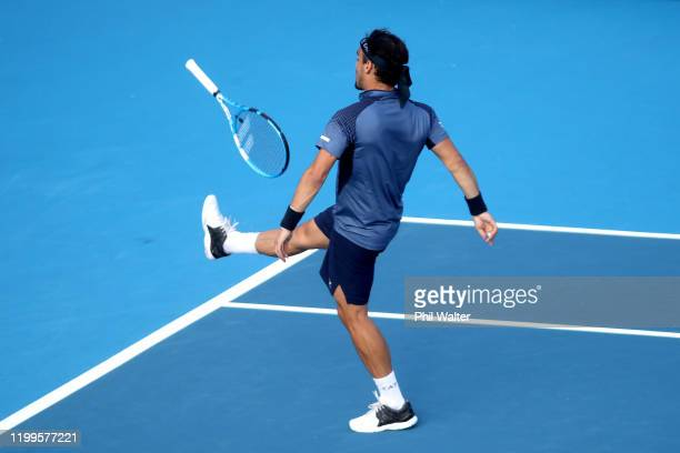 Fabio Fognini of Italy kicks his racquet away in his singles match against Feliciano Lopez of Spain during day three of the 2020 Men's ASB Classic at...