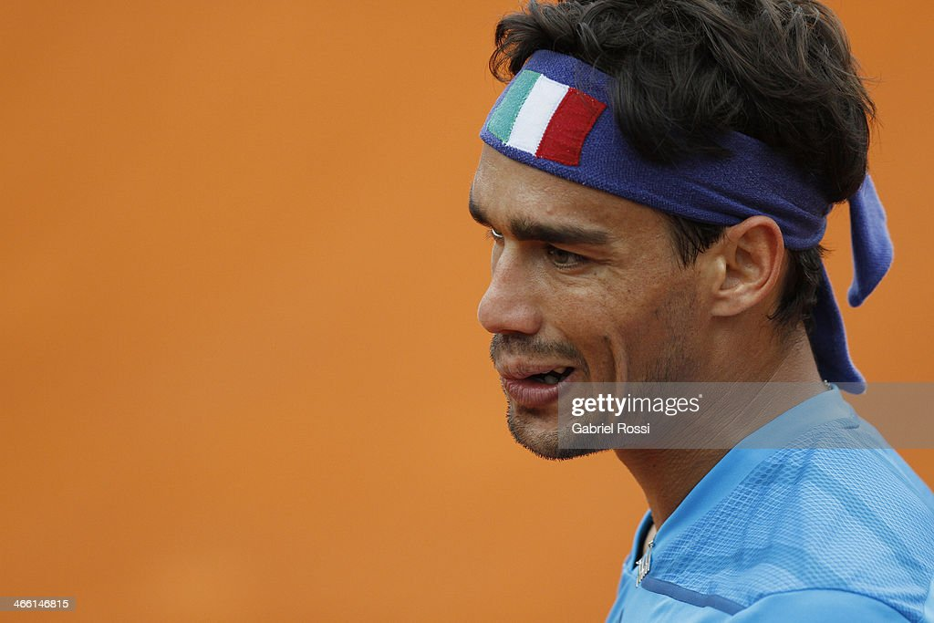 Fabio Fognini of Italy looks on during a match between Argentina and Italy as part of the Davis Cup at Patinodromo Stadium on January 31, 2014 in Mar del Plata, Argentina.