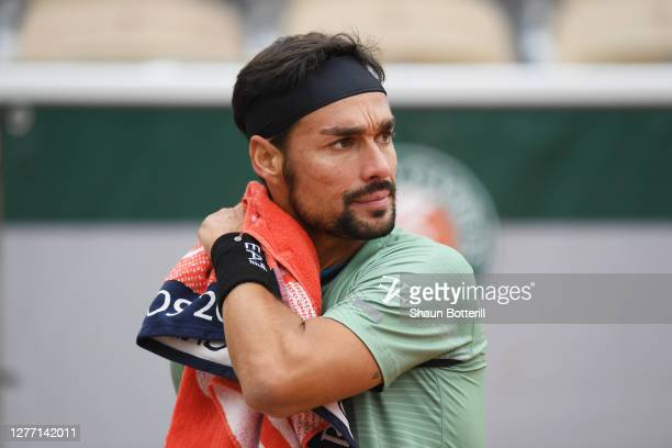 Fabio Fognini of Italy looks on during his Men's Singles first round match against Mikhail Kukushkin of Kazakstan on day two of the 2020 French Open...