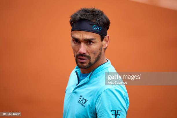 Fabio Fognini of Italy looks on during his second round match against Bernabe Zapata of Spain during day three of the Barcelona Open Banc Sabadell...