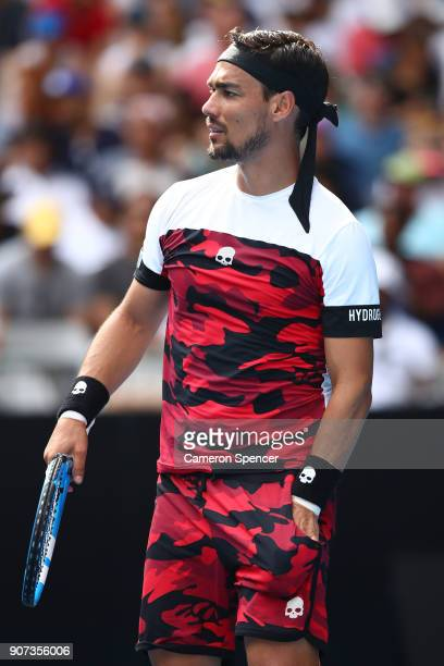 Fabio Fognini of Italy looks on in his third round match against Julien Benneteau of France on day six of the 2018 Australian Open at Melbourne Park...