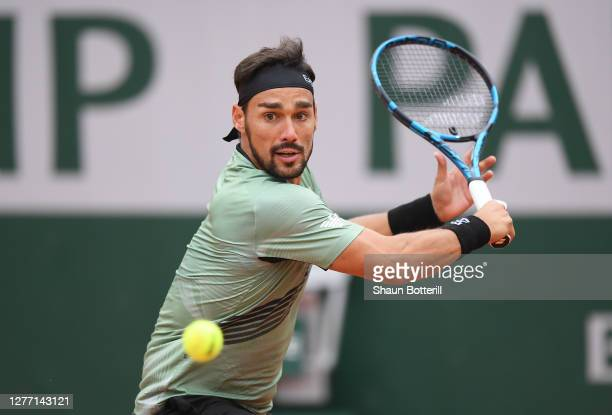 Fabio Fognini of Italy plays a backhand during his Men's Singles first round match against Mikhail Kukushkin of Kazakstan on day two of the 2020...