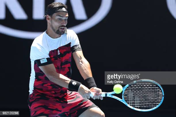 Fabio Fognini of Italy plays a backhand his fourth round match against Tomas Berdych of the Czech Republic on day eight of the 2018 Australian Open...