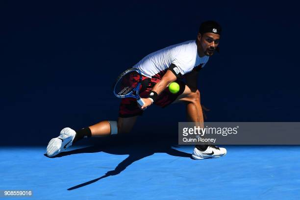 Fabio Fognini of Italy plays a backhand in his fourth round match against Tomas Berdych of the Czech Republic on day eight of the 2018 Australian...
