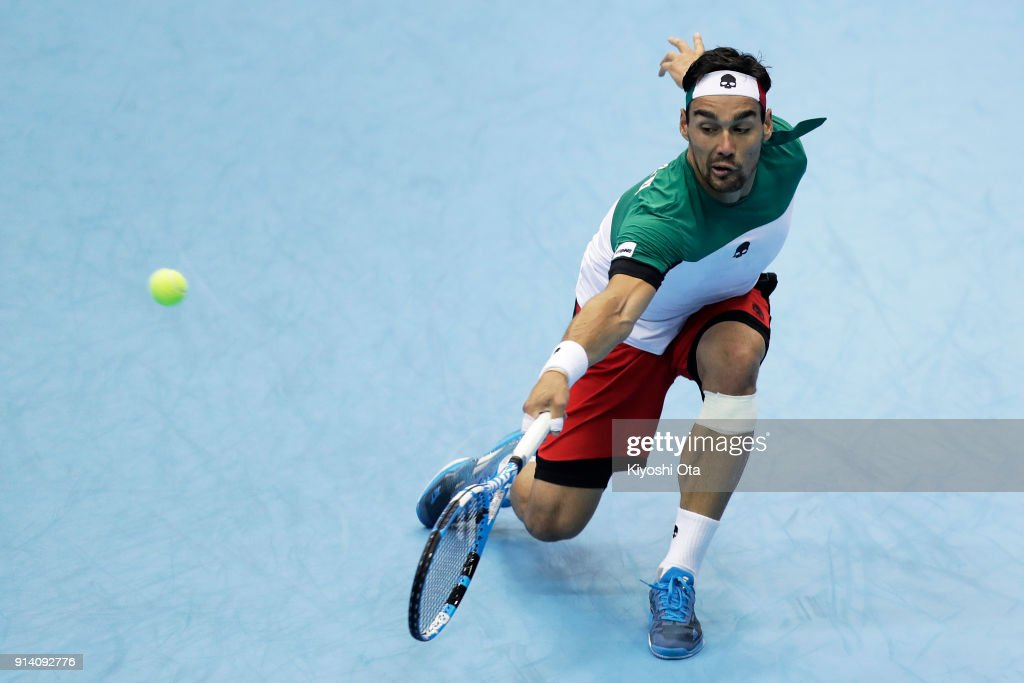 Fabio Fognini of Italy plays a backhand in his singles match against Yuichi Sugita of Japan during day three of the Davis Cup World Group first round between Japan and Italy at Morioka Takaya Arena on February 4, 2018 in Morioka, Iwate, Japan.