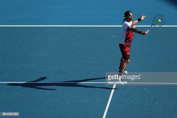 Fabio Fognini of Italy plays a backhand volley in his semi final match against Daniil Medvedev of Russia during day six of the 2018 Sydney...