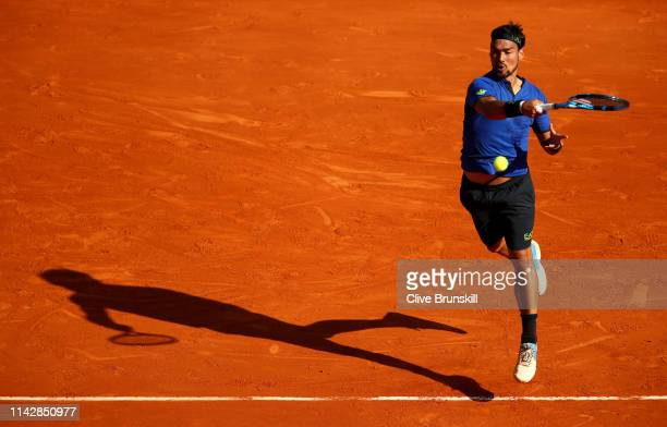 Fabio Fognini of Italy plays a forehand against Andrey Rublev of Russia in their first round match during day two of the Rolex Monte-Carlo Masters at...