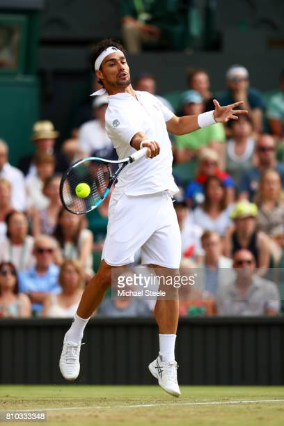 Fabio Fognini of Italy plays a forehand during the Gentlemen's Singles third round match against Andy Murray of Great Britain on day five of the...
