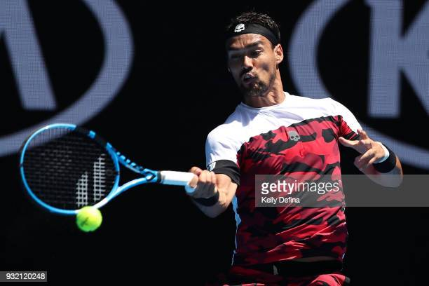 Fabio Fognini of Italy plays a forehand his fourth round match against Tomas Berdych of the Czech Republic on day eight of the 2018 Australian Open...