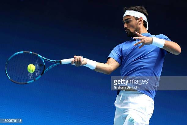Fabio Fognini of Italy plays a forehand in his match against Pablo Carreno Busta of Spain during day five of the 2021 ATP Cup at John Cain Arena on...