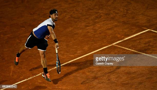 Fabio Fognini of Italy plays a shot during his second round match against Andy Murray of Great Britain in The Internazionali BNL d'Italia 2017 at...