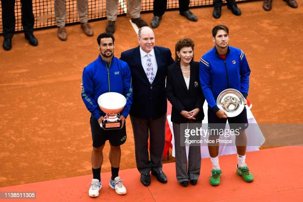 Fabio Fognini of Italy Prince Albert of Monaco ElisabethAnne de Massy president of tennis federation of Monaco and Dusan Lajovic of Serbia during the...