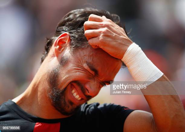 Fabio Fognini of Italy reacts after being defeated during his Quarter Final match by Rafael Nadal of Spain during day six of The Internazionali BNL...