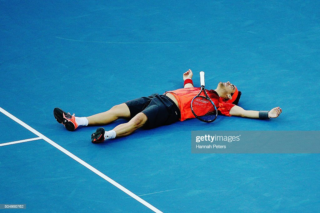 Fabio Fognini of Italy reacts after losing a point during the second round singles match against Jo-Wilfried Tsonga of France during the 2016 ASB Classic at the ASB Tennis Arena on January 14, 2016 in Auckland, New Zealand.