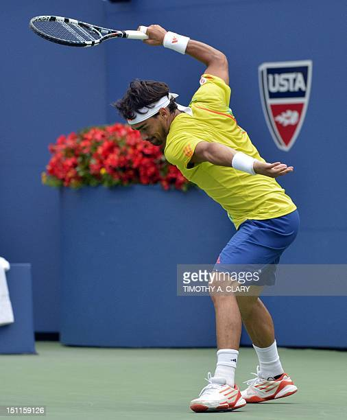 Fabio Fognini of Italy reacts during his 2012 US Open men's singles third round match against Andy Roddick of the US at the USTA Billie Jean King...