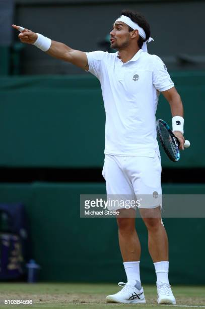 Fabio Fognini of Italy reacts during the Gentlemen's Singles third round match against Andy Murray of Great Britain on day five of the Wimbledon Lawn...