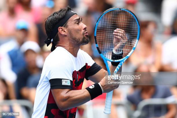 Fabio Fognini of Italy reacys in his third round match against Julien Benneteau of France on day six of the 2018 Australian Open at Melbourne Park on...