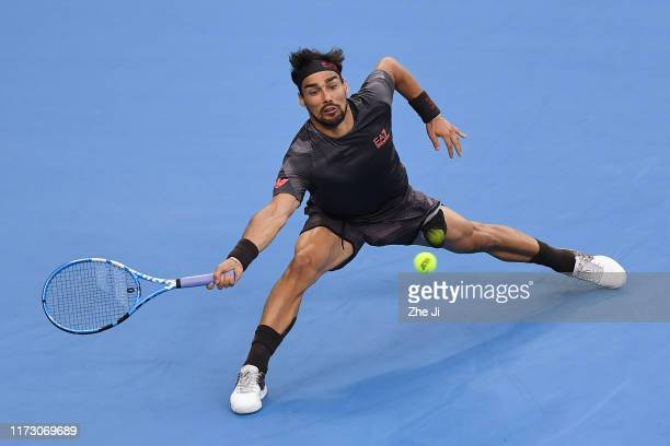 Fabio Fognini of Italy returns a shot against Andrey Rublev of Russia during Men's singles second round match of 2019 China Open at the China...