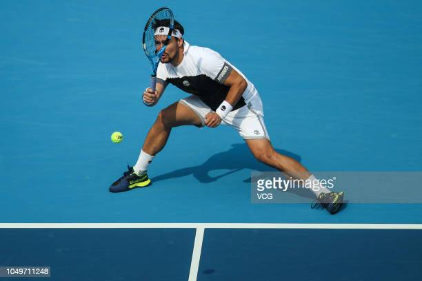 Fabio Fognini of Italy returns a shot in the Men's Singles Quarter-final match against Marton Fucsovics of Hungary on day seven of the 2018 China...