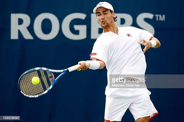 Fabio Fognini of Italy returns a shot to Radek Stepanek of the Czech Republic during the Rogers Cup at the Rexall Centre on August 10, 2010 in...