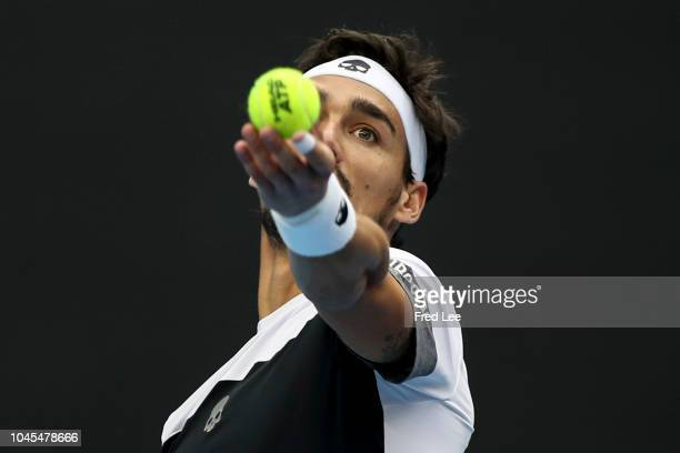 Fabio Fognini of Italy serves against Andrey Rublev of Russia during their men's Singles 2nd Round match of the 2018 China Open at the China National...