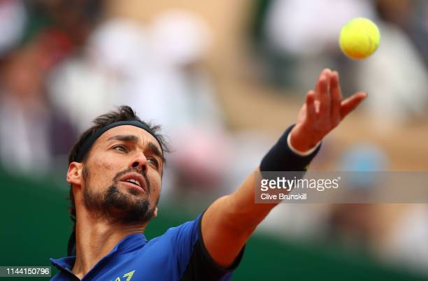 Fabio Fognini of Italy serves against Dusan Lajovic of Serbia in the men's singles final during day eight of the Rolex Monte-Carlo Masters at...