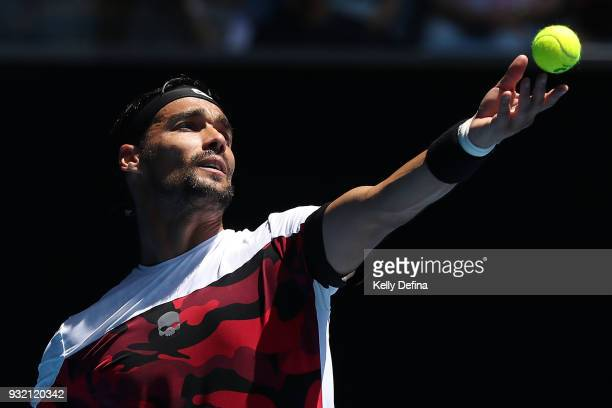 Fabio Fognini of Italy serves during his fourth round match against Tomas Berdych of the Czech Republic on day eight of the 2018 Australian Open at...