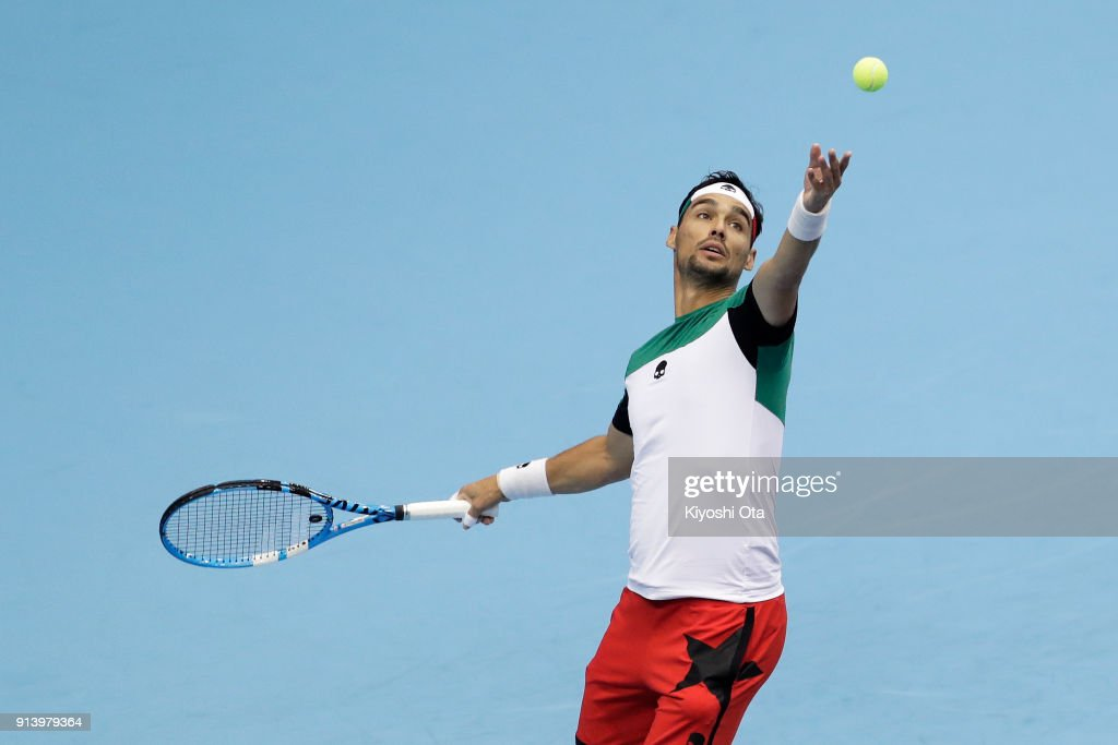 Fabio Fognini of Italy serves in his singles match against Yuichi Sugita of Japan during day three of the Davis Cup World Group first round between Japan and Italy at Morioka Takaya Arena on February 4, 2018 in Morioka, Iwate, Japan.
